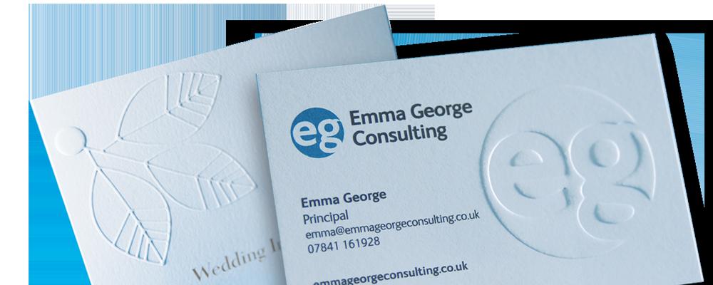 Arrow Print Embossed Business Card